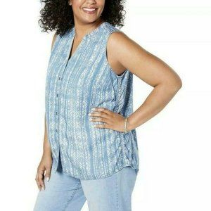 Style & Co Plus Women's Sleeveless Blue Top 1X NWT